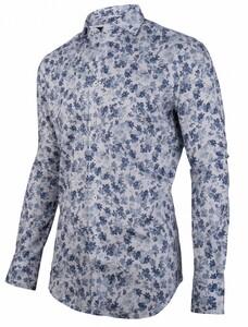 Cavallaro Napoli Tanio Overhemd Midden Blauw-Navy