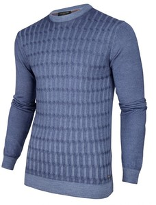 Cavallaro Napoli Testo Garment Dye Trui Midden Blauw