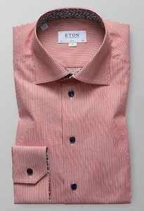 Eton Floral Detail Striped Shirt Roodroze