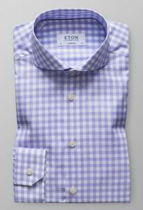 Eton Signature Twill Check Pastel Blauw