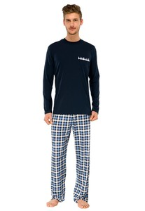 Schiesser Day and Night Pyjama Effen/Ruit Donker Blauw