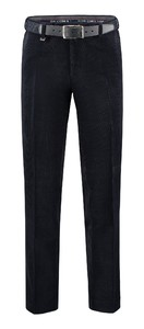 Com4 Flat-Front Woolcord Ribbroek Navy