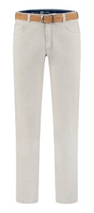 Com4 Swing Front Cotton Fine Line Pants Light Grey