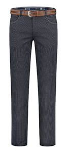 Com4 Swing Front Cotton Structure Mix Wool Look Pants Blue
