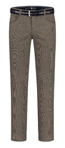 Com4 Swing Front Cotton Structure Mix Wool Look Pants Brown