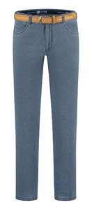 Com4 Swing Front Fine Pattern Jeans Mid Denim Blue
