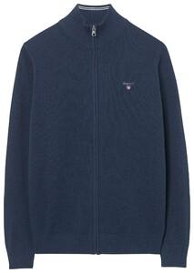 Gant Cotton Pique Zipper Vest Dark Jeansblue Melange