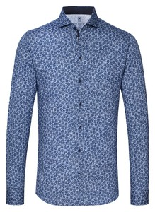 Desoto Allover Flower Pattern Shirt Blue