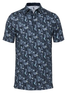 Desoto Birds Leaf Pattern Polo Zwart