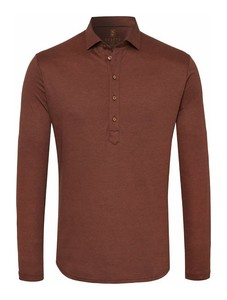 Desoto Casual Long Sleeve Poloshirt Brown