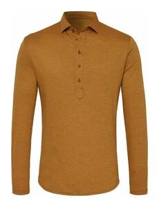 Desoto Casual Long Sleeve Poloshirt Rust Orange