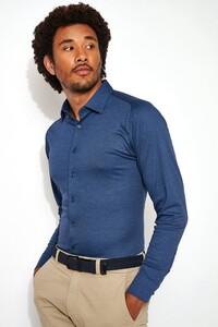 Desoto Kent Piqué Overhemd Indigo