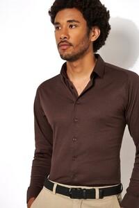 Desoto Kent Piqué Shirt Dark Brown Melange