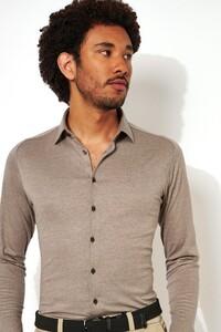 Desoto Kent Piqué Shirt Light Brown