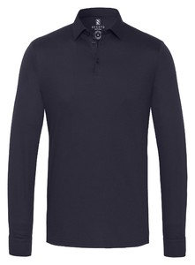 Desoto Long Sleeve Piqué Uni Poloshirt Navy