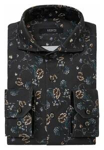 Desoto Luxury Blossom Pattern Shirt Navy-Brown