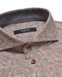 Desoto Luxury Check Paisley Pattern Shirt Brown