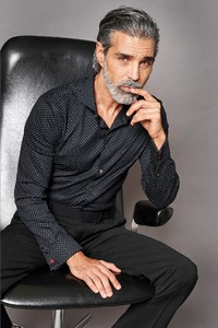 Desoto Luxury Double Cuff Multi Subtle Circles Shirt Black-Grey