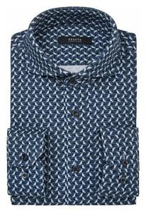 Desoto Luxury Fantasy Gears Pattern Shirt Dark Evening Blue