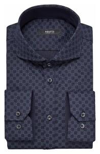 Desoto Luxury Fine Ornament Fantasy Pattern Overhemd Navy