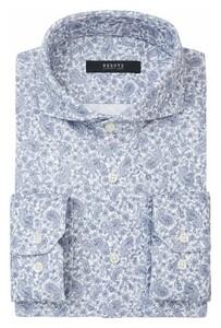 Desoto Luxury Fine Paisley Pattern Overhemd Wit-Lichtblauw