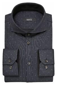 Desoto Luxury Fine Stripe Subtle Fantasy Square Shirt Grey-Black