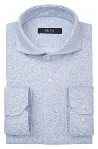 Desoto Luxury Letters Pattern Fantasy Overhemd Wit-Lichtblauw