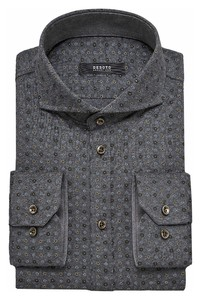 Desoto Luxury Mini Abstract Floral Pattern Shirt Grey-Olive