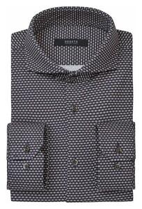Desoto Luxury Minimal Square Triangle Pattern Shirt Navy-Beige