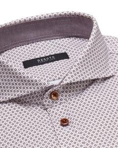 Desoto Luxury Multi Mini Squares Shirt White-Brown