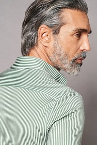 Desoto Luxury Shark Stripes Jacquard Overhemd Groen