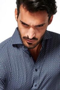 Desoto Mini Pattern Overhemd Blauw-Rood