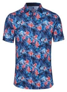 Desoto Multi Leaf Fantasy Overhemd Blauw-Rood