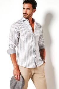 Desoto Multi Stripe Shirt White-Beige