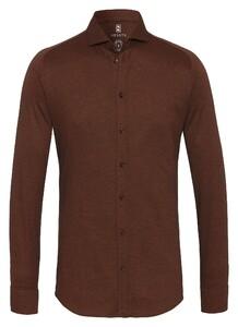 Desoto New Shark Fine Pique Solid Overhemd Bruin
