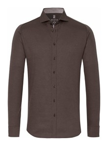 Desoto New Shark Fine Pique Solid Overhemd Donker Bruin