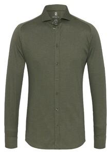 Desoto New Shark Fine Pique Solid Overhemd Olive