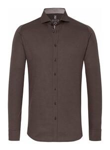 Desoto New Shark Fine Pique Solid Shirt Dark Brown Melange