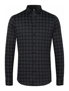 Desoto Subtle Check Modern Button Down Overhemd Zwart