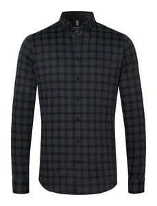 Desoto Subtle Check Modern Button Down Shirt Black