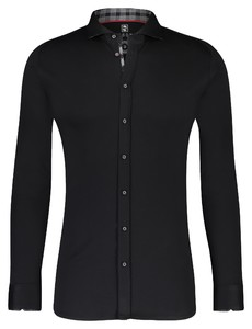 Desoto Uni Fine Collar Contrast Overhemd Zwart