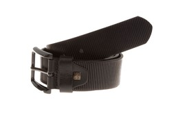 Lindenmann Ribbed Leather Belt Zwart