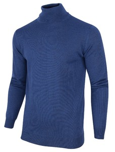 Cavallaro Napoli Merino Roll Neck Pullover Midden Blauw