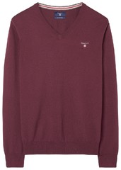 Gant Cotton Wool V-Neck Dark Burgundy Melange