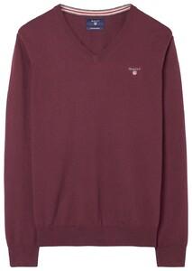 Gant Cotton Wool V-Neck Dark Burgundy Melange
