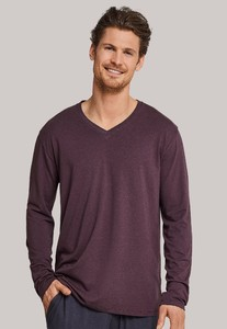 Schiesser Mix & Relax Modal T-Shirt V-Neck Maroon