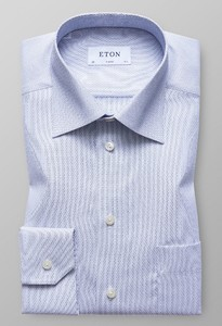 Eton Classic Textured Twill Donker Blauw