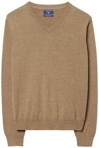 Gant Cotton V-Neck Dark Sand Melange