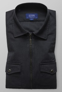 Eton Uni Zipper Shirt Midden Grijs