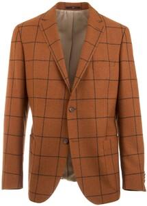 EDUARD DRESSLER Contrasting Check Jacket Cognac